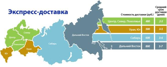 Карта цен и сроков доставки Ems интернет-магазина Ugglove.ru